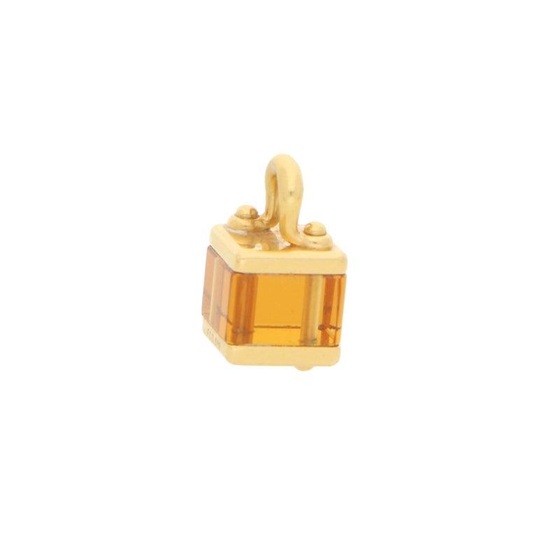 Retro Louis Vuitton Citrine Box Charm in Yellow Gold For Sale