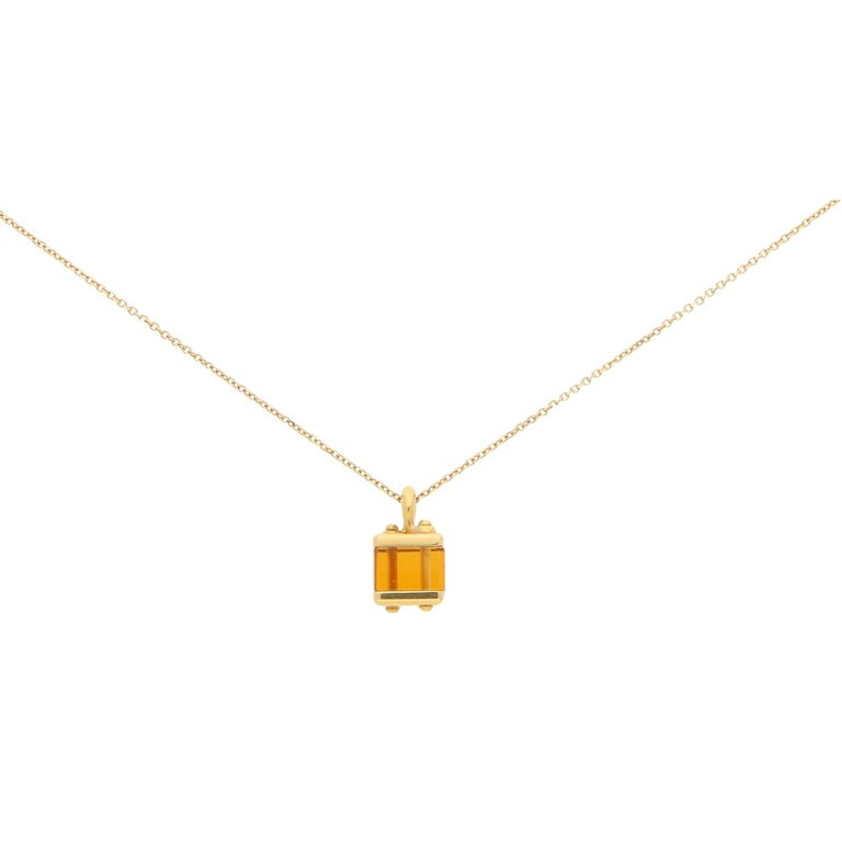 Cabochon Louis Vuitton Citrine Box Charm in Yellow Gold For Sale