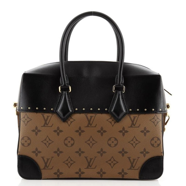 Black Louis Vuitton City Malle Handbag Reverse Monogram Canvas and Leather MM For Sale