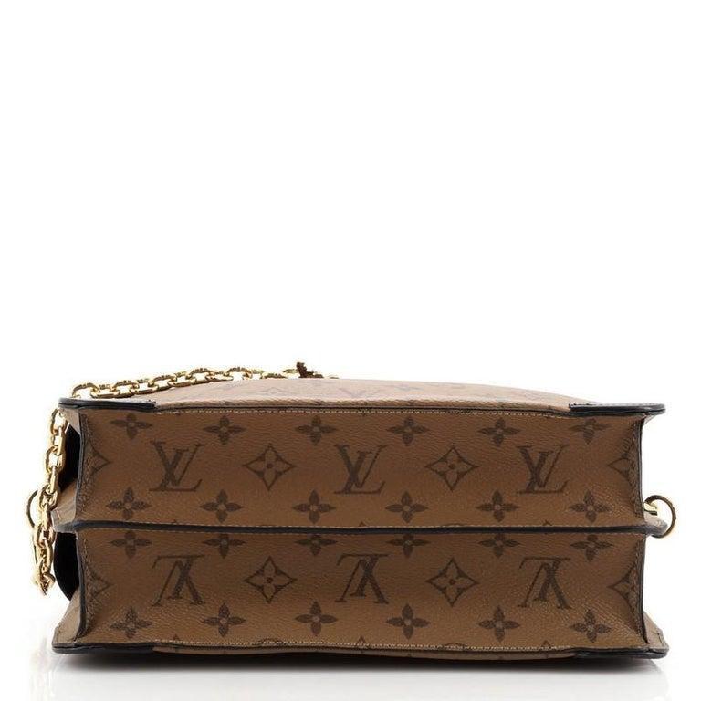 Louis Vuitton City Malle Handbag Reverse Monogram Canvas and Leather MM In Good Condition For Sale In New York, NY