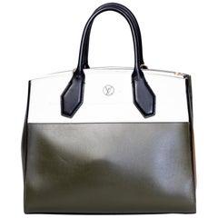 Louis Vuitton Khaki/White City Stream MM Tote Handbag
