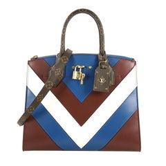 Louis Vuitton City Steamer Handbag Chevron Leather with Monogram Canvas MM