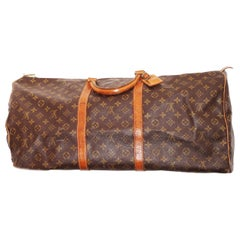 Louis Vuitton classic Monogram Canvas vintage 'Keepall 60' Travel bag.