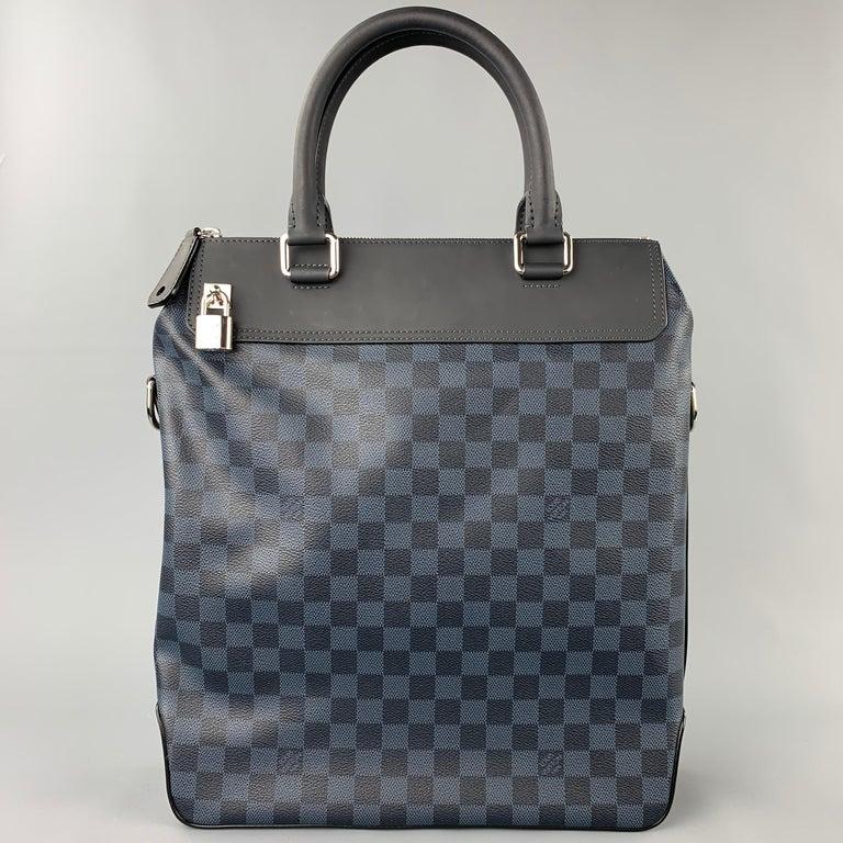 Men's LOUIS VUITTON Cobalt & Black Damier Leather Trim Canvas Greenwich Tote Bag For Sale