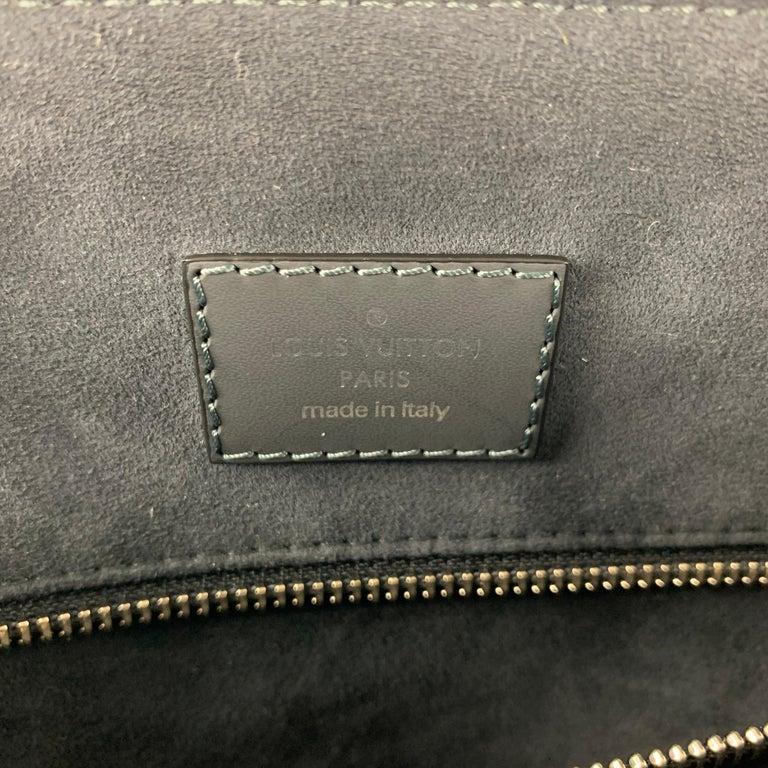 LOUIS VUITTON Cobalt & Black Damier Leather Trim Canvas Greenwich Tote Bag For Sale 4