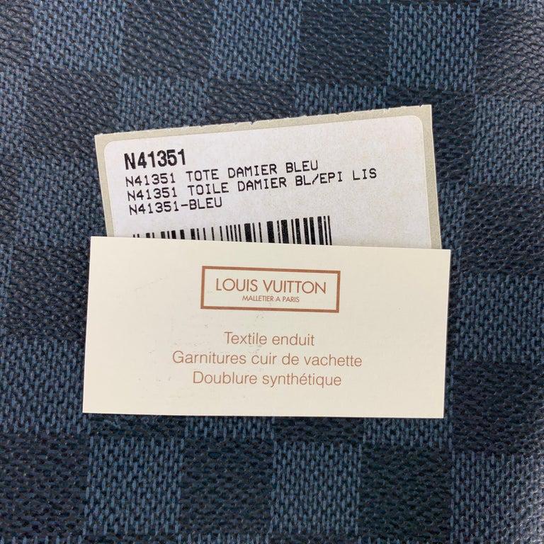 LOUIS VUITTON Cobalt & Black Damier Leather Trim Canvas Greenwich Tote Bag For Sale 5