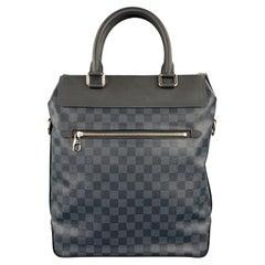 LOUIS VUITTON Cobalt & Black Damier Leather Trim Canvas Greenwich Tote Bag