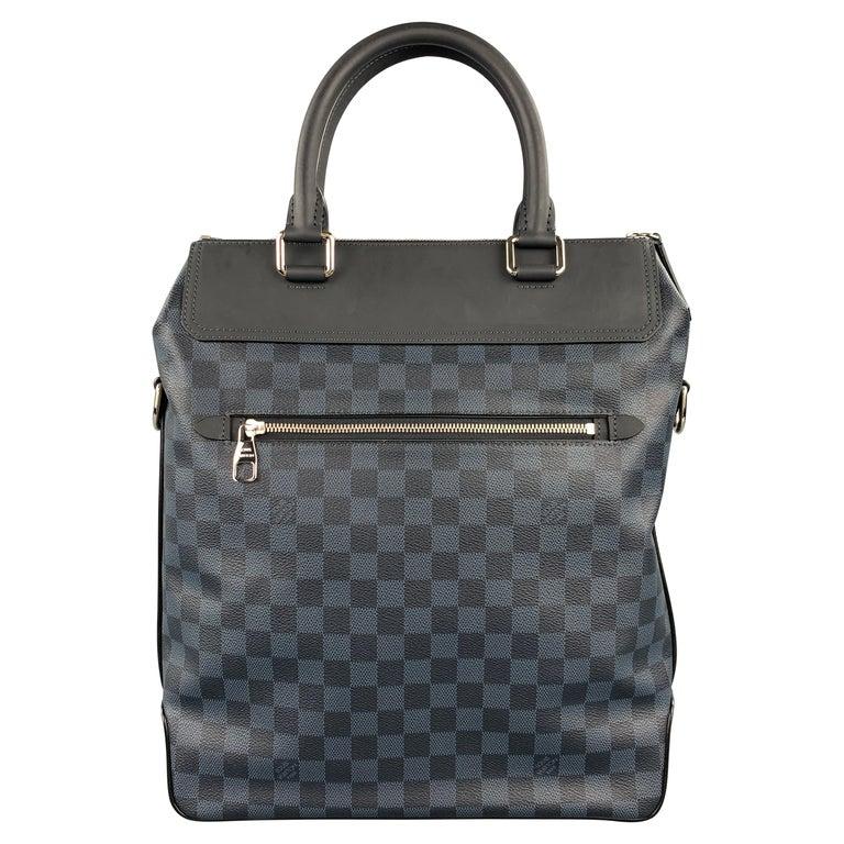 LOUIS VUITTON Cobalt & Black Damier Leather Trim Canvas Greenwich Tote Bag For Sale