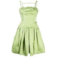 Louis Vuitton Cocktail Green Silk Dress