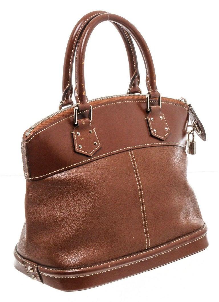 Brown Louis Vuitton Cognac Suhali Leather Lockit PM Bag For Sale