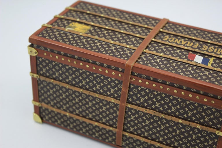 Brown Louis Vuitton Collectible Small Paperweight Miss France Mini Trunk For Sale