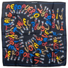 Louis Vuitton Color Lettering Black Silk Scarf