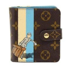 Louis Vuitton Compact Zip Groom Blue Monogram Canvas Wallet