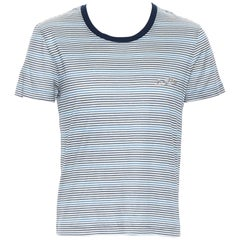 LOUIS VUITTON cotton navy blue stripe embroidered crew short sleeve t-shirt M