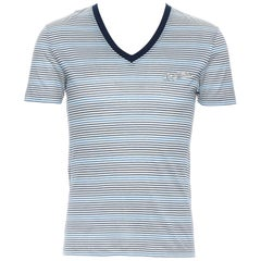 LOUIS VUITTON cotton navy blue stripe embroidered V-neck short sleeve t-shirt XS