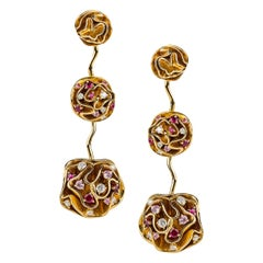 Louis Vuitton Couture Diamond and Pink Sapphire Drop Earrings