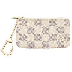 Louis Vuitton Cream & Black Damier Azur Key Pouch