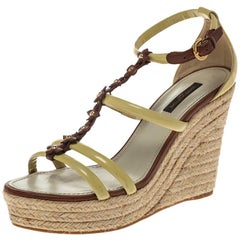 Louis Vuitton Cream/Brown Monogram Flower Espadrille Wedge Sandals Size 37.5