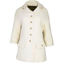 Louis Vuitton Cream Cashmere Coat Sz FR38