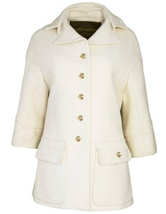 Louis Vuitton Cream Cashmere Coat Sz FR38
