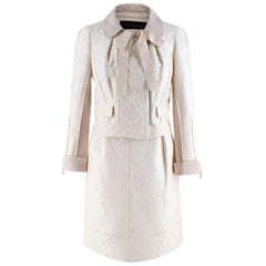 Louis Vuitton Cream Embroidered Jacquard Jacket & Skirt - Size US 0-2