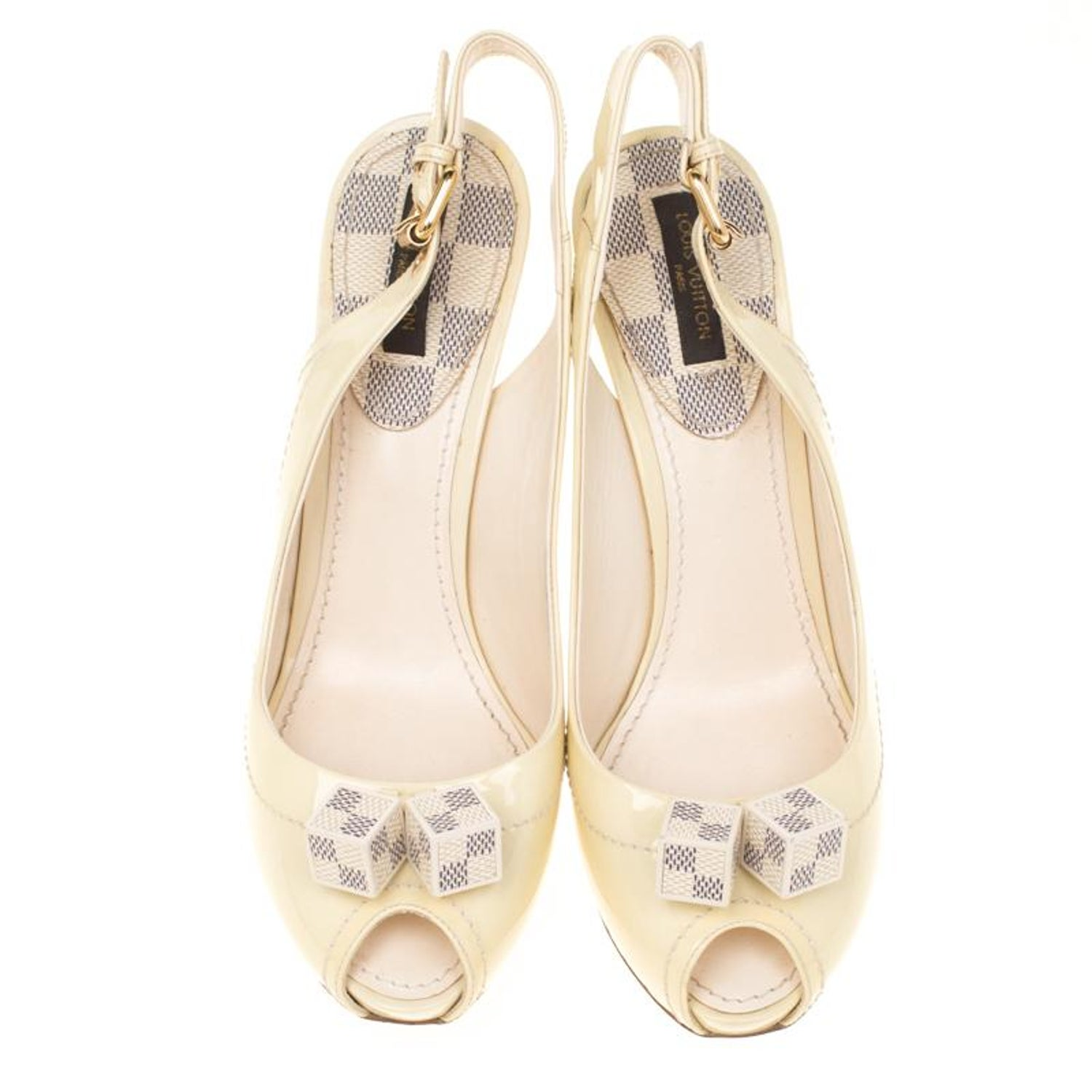 4f841ee488e1c Louis Vuitton Cream Leather Damier Azur Canvas Pumps Size 37 For Sale at  1stdibs