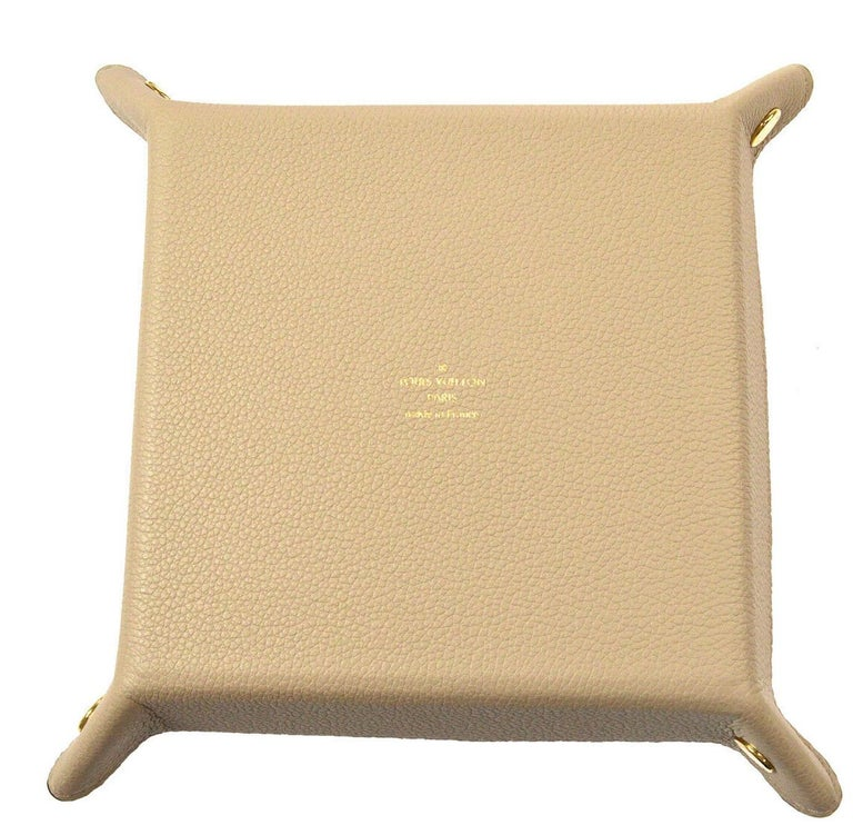 Beige Louis Vuitton Cream Leather Desk Table Vanity Jewelry Cosmetic Travel Tray W/Box