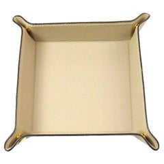 Louis Vuitton Cream Leather Desk Table Vanity Jewelry Cosmetic Travel Tray W/Box