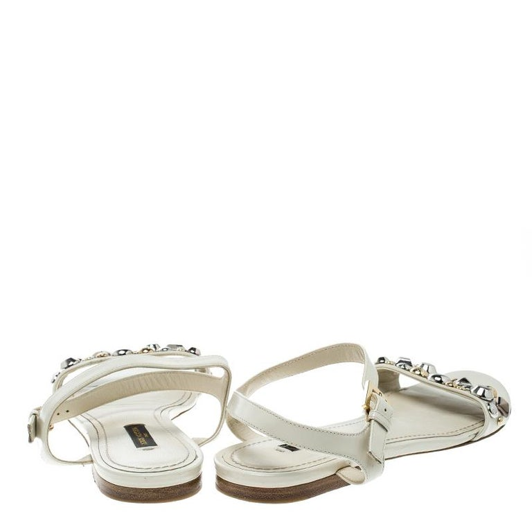4c67e880440b Beige Louis Vuitton Cream Leather Studded Flat Ankle Strap Sandals Size  38.5 For Sale
