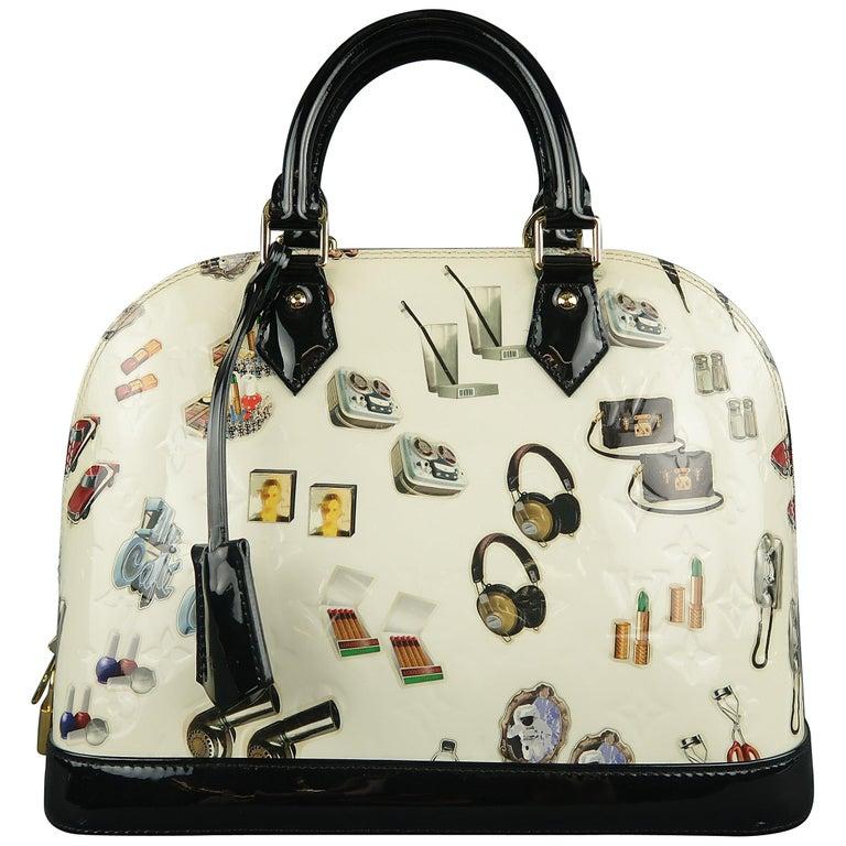 bd241c4c1878 LOUIS VUITTON Cream Monogram Embossed Vernis Stickers Alma BB Handbag For  Sale at 1stdibs