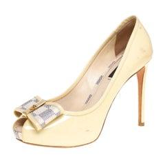 Louis Vuitton Cream Patent Leather and Damier Azur Canvas Peep Toe Pumps 37.5