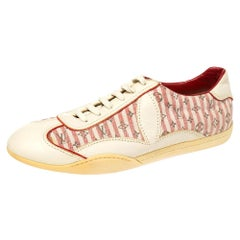 Louis Vuitton Cream /Red Monogram Canvas And Leather Sneakers Size 39