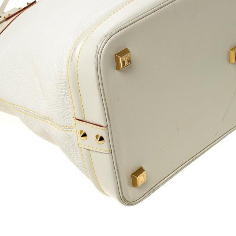 Louis Vuitton Cream Suhali Leather Lockit GM Bag For Sale 5