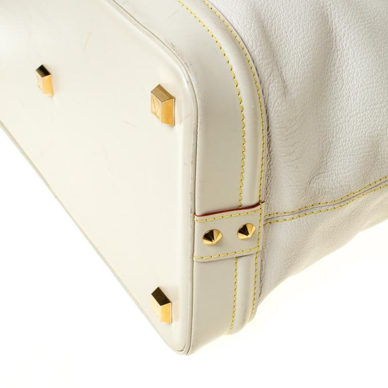 Louis Vuitton Cream Suhali Leather Lockit GM Bag For Sale 6