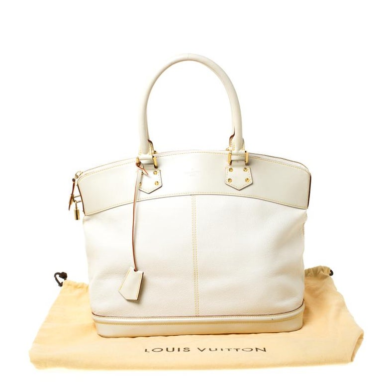 Louis Vuitton Cream Suhali Leather Lockit GM Bag For Sale 7