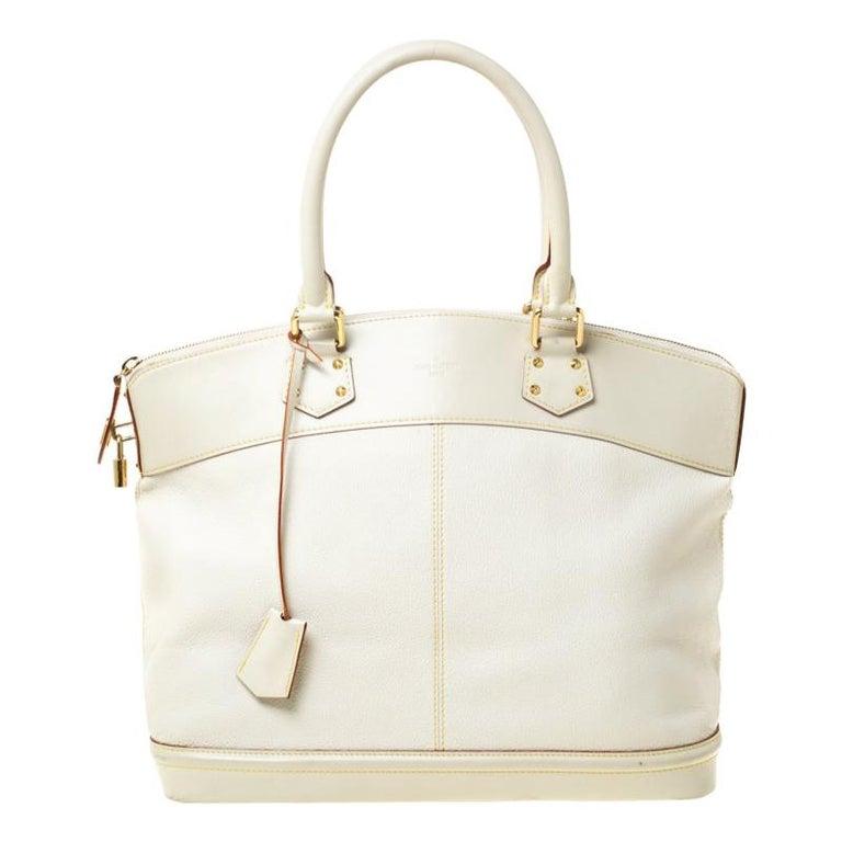 Louis Vuitton Cream Suhali Leather Lockit GM Bag For Sale