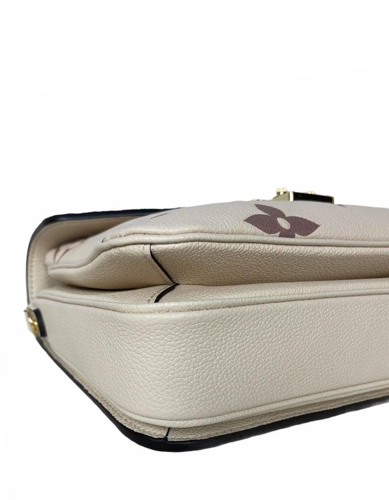 Louis Vuitton Creme Bois De Rose Empreinte Monogram Pochette Metis Bag For Sale 1