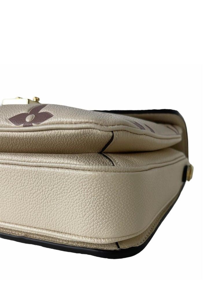 Louis Vuitton Creme Bois De Rose Empreinte Monogram Pochette Metis Bag For Sale 2