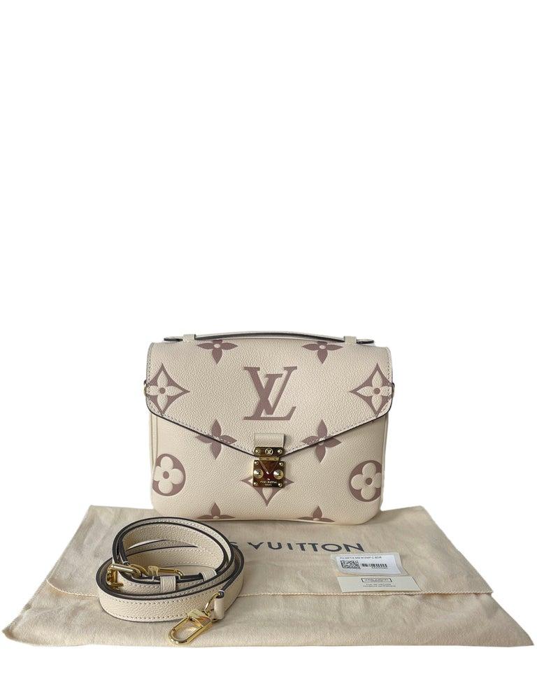 Louis Vuitton Creme Bois De Rose Empreinte Monogram Pochette Metis Bag For Sale 5