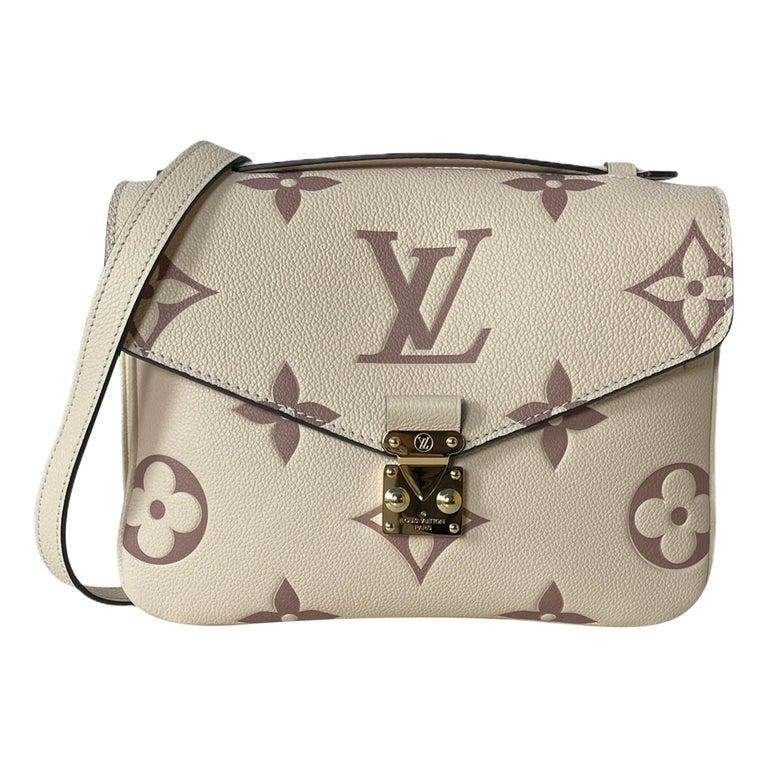 Louis Vuitton Creme Bois De Rose Empreinte Monogram Pochette Metis Bag For Sale