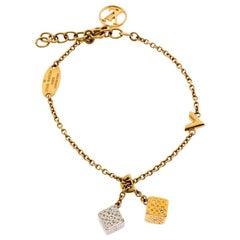 Louis Vuitton Crystal Dice Charm Gold Plated Luckygram Bracelet