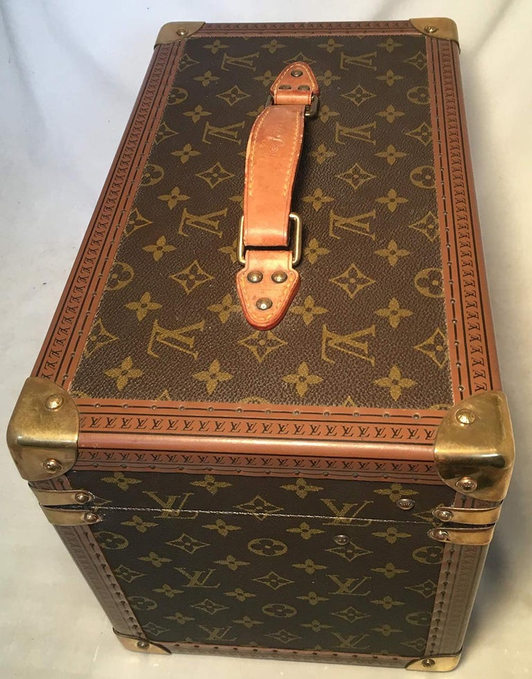 Women's or Men's Louis Vuitton Custom Monogram Jewelry Travel Train Case with 16 Ultrasuede Trays For Sale