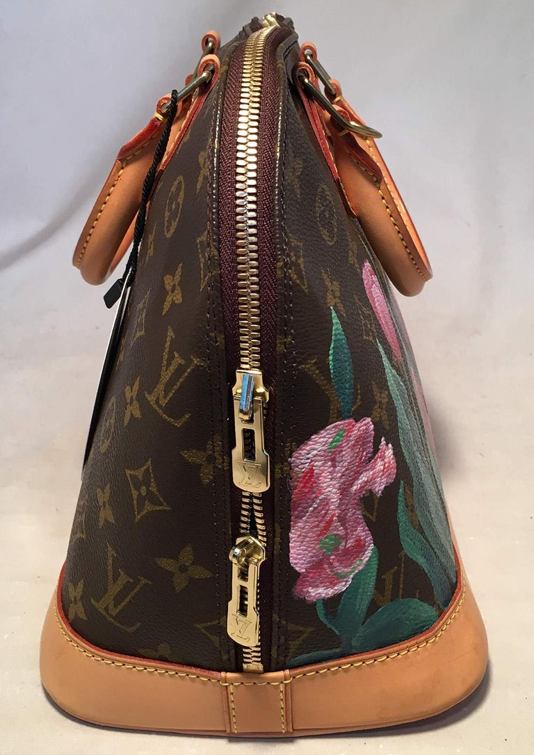Louis Vuitton Customized Hand Painted Tulip Monogram Alma Bag in excellent condition. Signature Louis Vuitton monogram canvas exterior with tan leather bottom & handles trimmed with golden brass hardware. The monogram canvas has been customized by