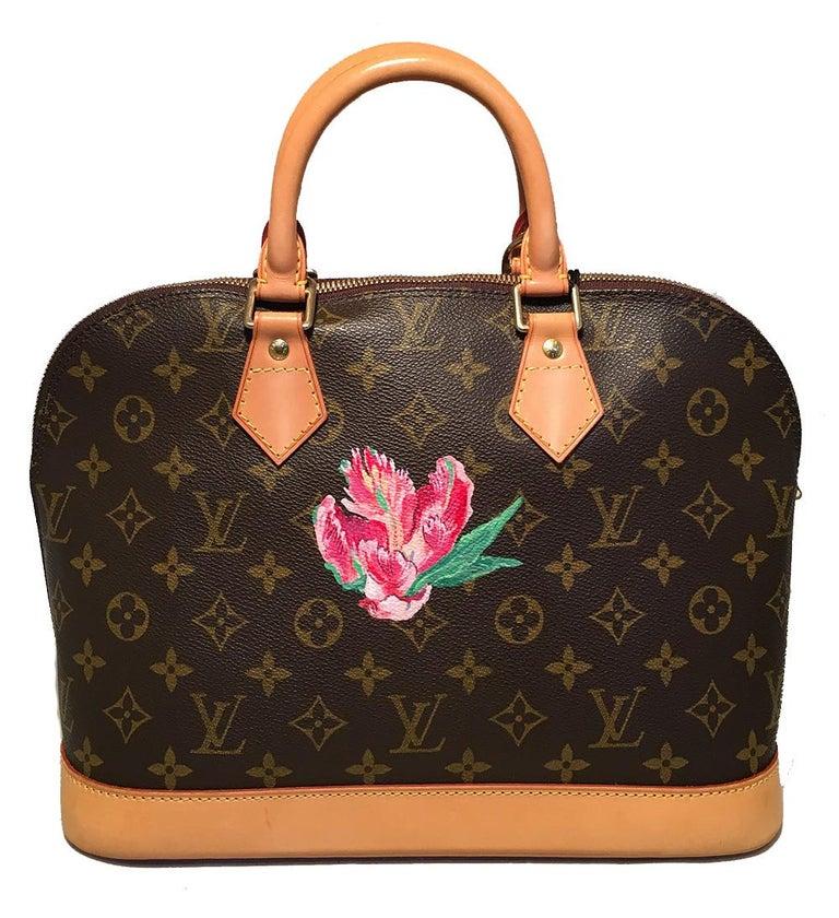 Black Louis Vuitton Customized Hand Painted Tulip Monogram Alma Bag For Sale
