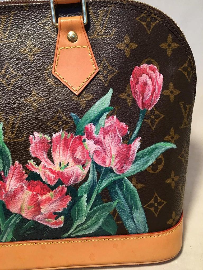 Women's Louis Vuitton Customized Hand Painted Tulip Monogram Alma Bag For Sale