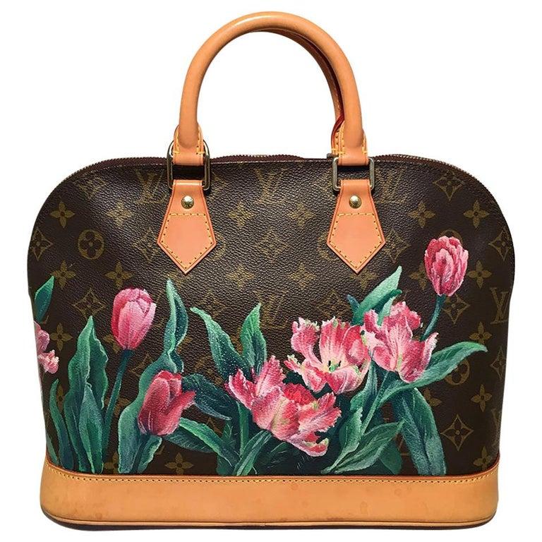 Louis Vuitton Customized Hand Painted Tulip Monogram Alma Bag For Sale