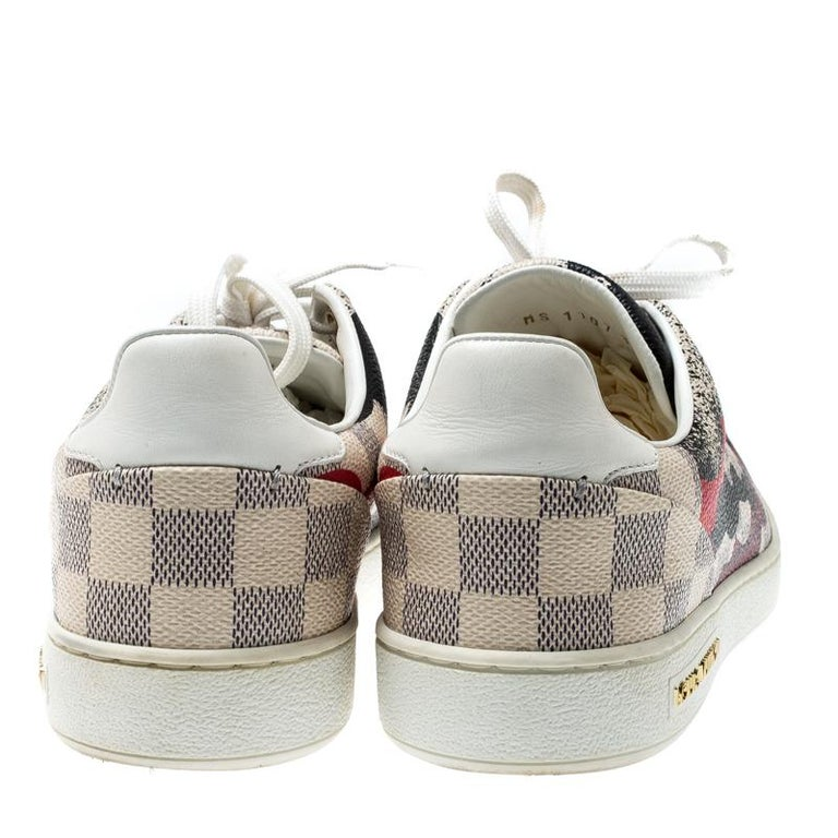 Gray Louis Vuitton Damier Azur Canvas And Leather Trim Overcloud Lace Up Sneakers 37