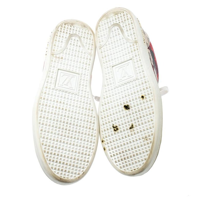 Louis Vuitton Damier Azur Canvas And Leather Trim Overcloud Lace Up Sneakers 37 In Good Condition In Dubai, Al Qouz 2