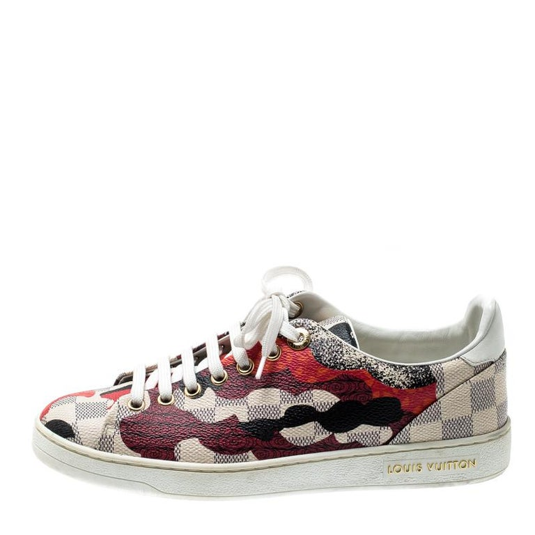 Louis Vuitton Damier Azur Canvas And Leather Trim Overcloud Lace Up Sneakers 37 1