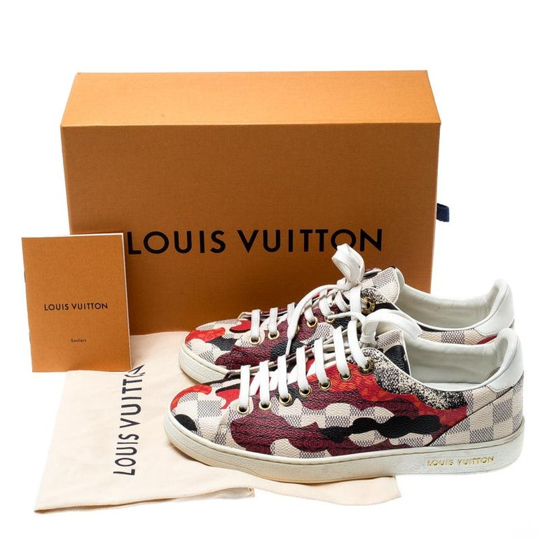 Louis Vuitton Damier Azur Canvas And Leather Trim Overcloud Lace Up Sneakers 37 3